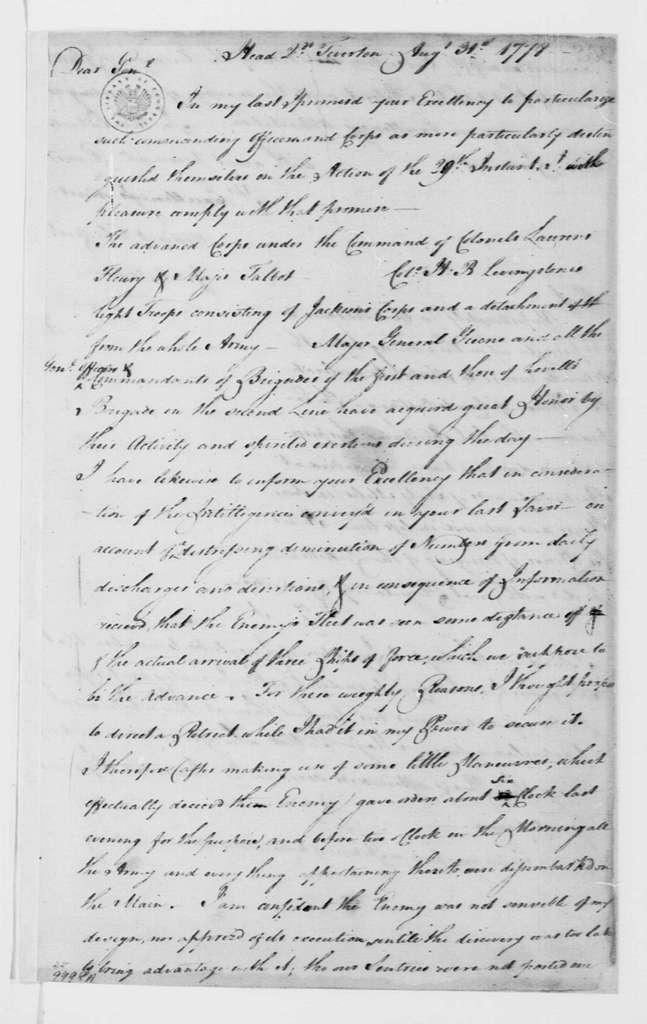 George Washington Papers, Series 4, General Correspondence: John Sullivan to George Washington, August 31, 1778