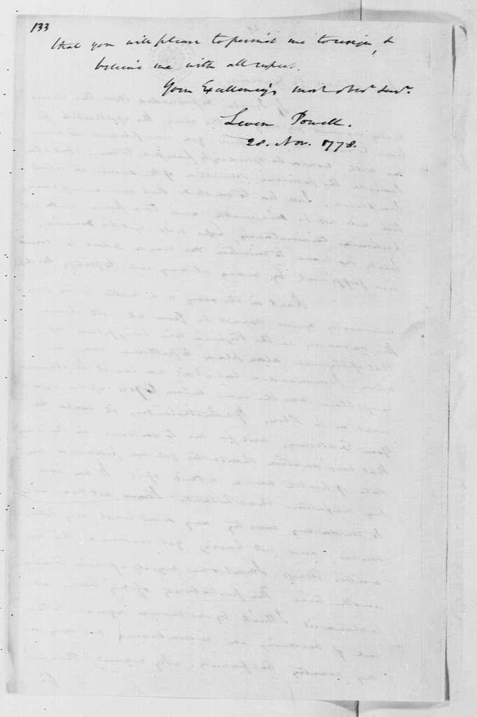 George Washington Papers, Series 4, General Correspondence: Levin Powell to George Washington, November 28, 1778, 19th-century transcription by William B. Sprague