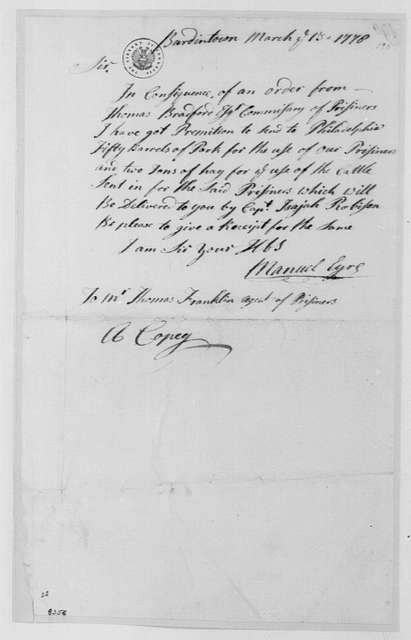 George Washington Papers, Series 4, General Correspondence: Manuel Eyre to Thomas Franklin, March 13, 1778