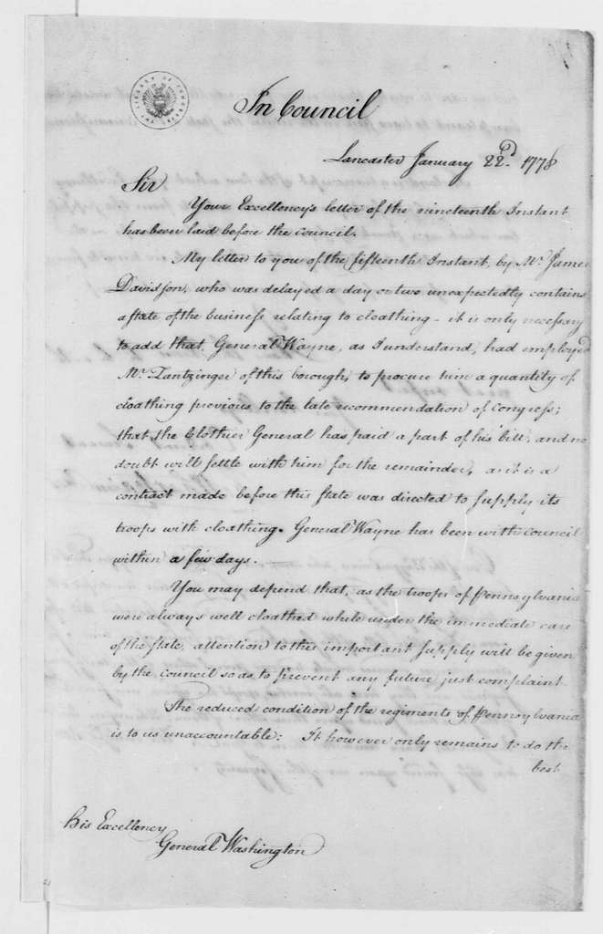 George Washington Papers, Series 4, General Correspondence: Pennsylvania Council to George Washington, January 22, 1778