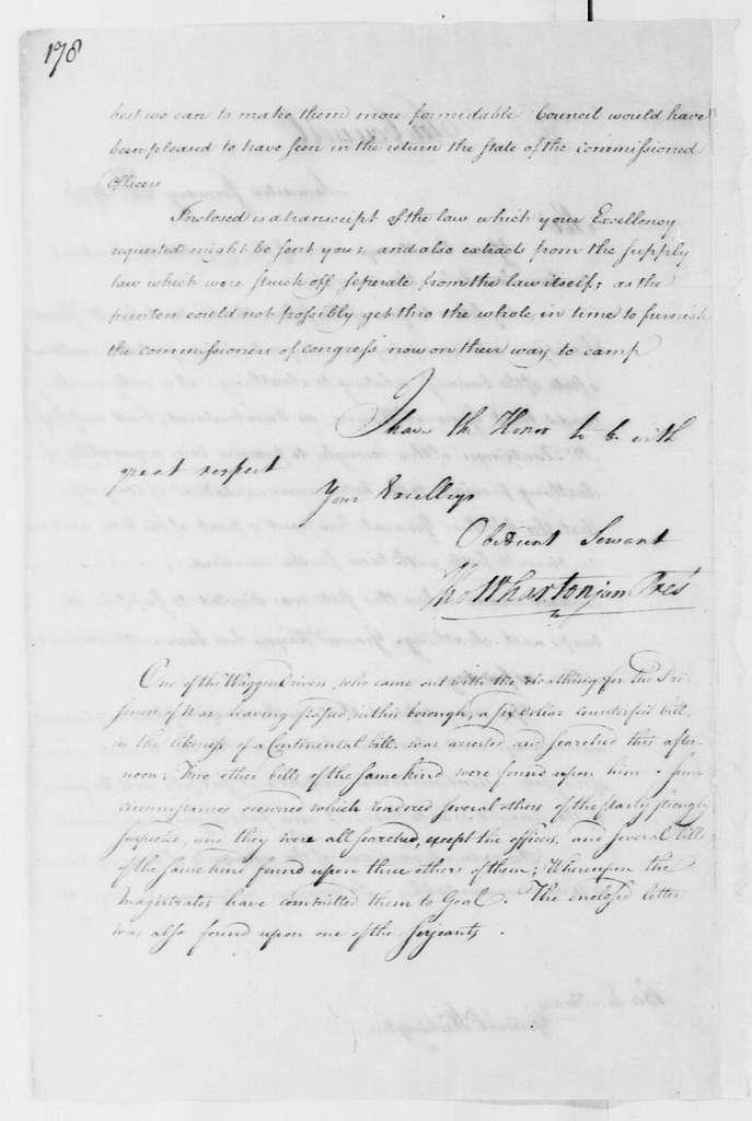 George Washington Papers, Series 4, General Correspondence: Pennsylvania Council to George Washington, January 22, 1778