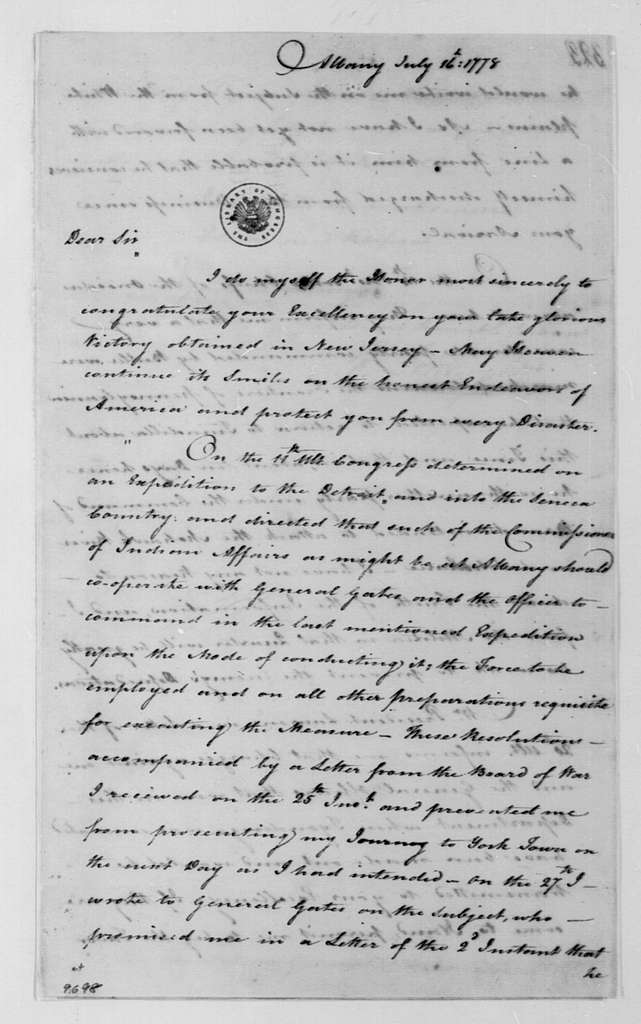 George Washington Papers, Series 4, General Correspondence: Philip J. Schuyler to George Washington, July 16, 1778