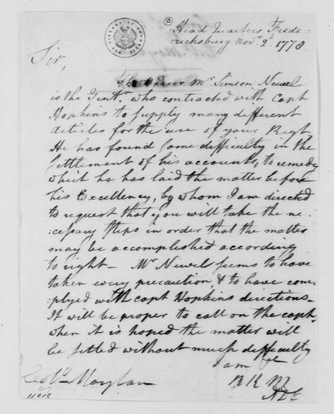 George Washington Papers, Series 4, General Correspondence: Richard K. Meade to Stephen Moylan, November 2, 1778