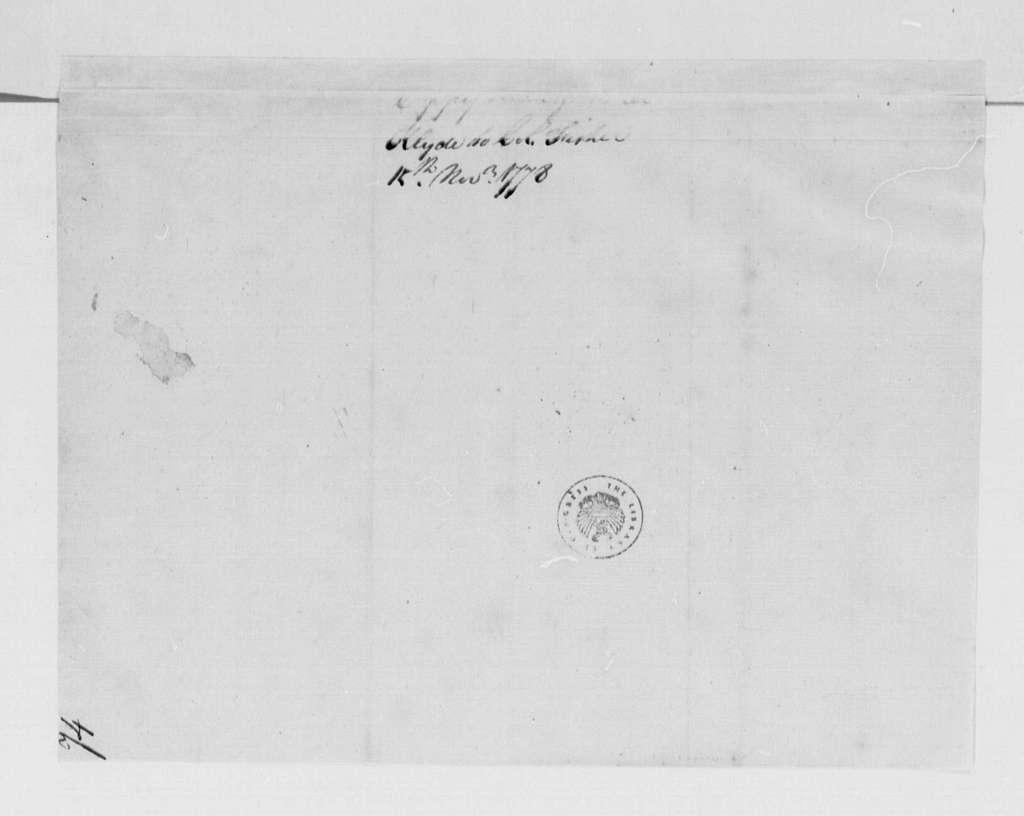 George Washington Papers, Series 4, General Correspondence: Samuel Clyde to Frederick Fisher, November 15, 1778