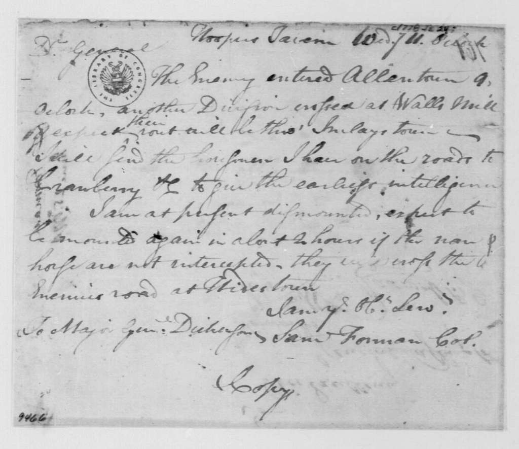 George Washington Papers, Series 4, General Correspondence: Samuel Forman to Philemon Dickinson, June 24, 1778
