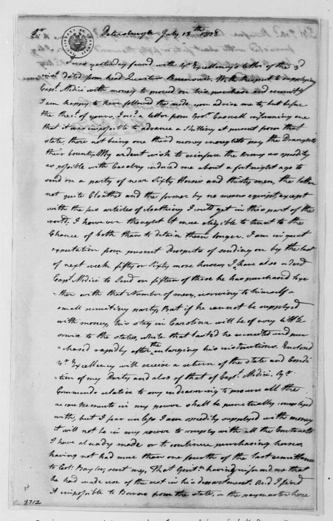 George Washington Papers, Series 4, General Correspondence: Theodorick Bland to George Washington, July 18, 1778
