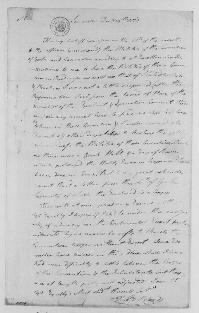 George Washington Papers, Series 4, General Correspondence: Theodorick Bland to George Washington, December 19, 1778