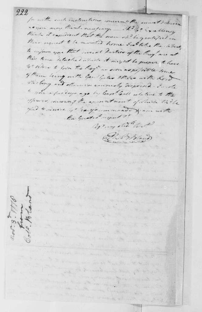 George Washington Papers, Series 4, General Correspondence: Theodorick Bland to George Washington, November 3, 1778