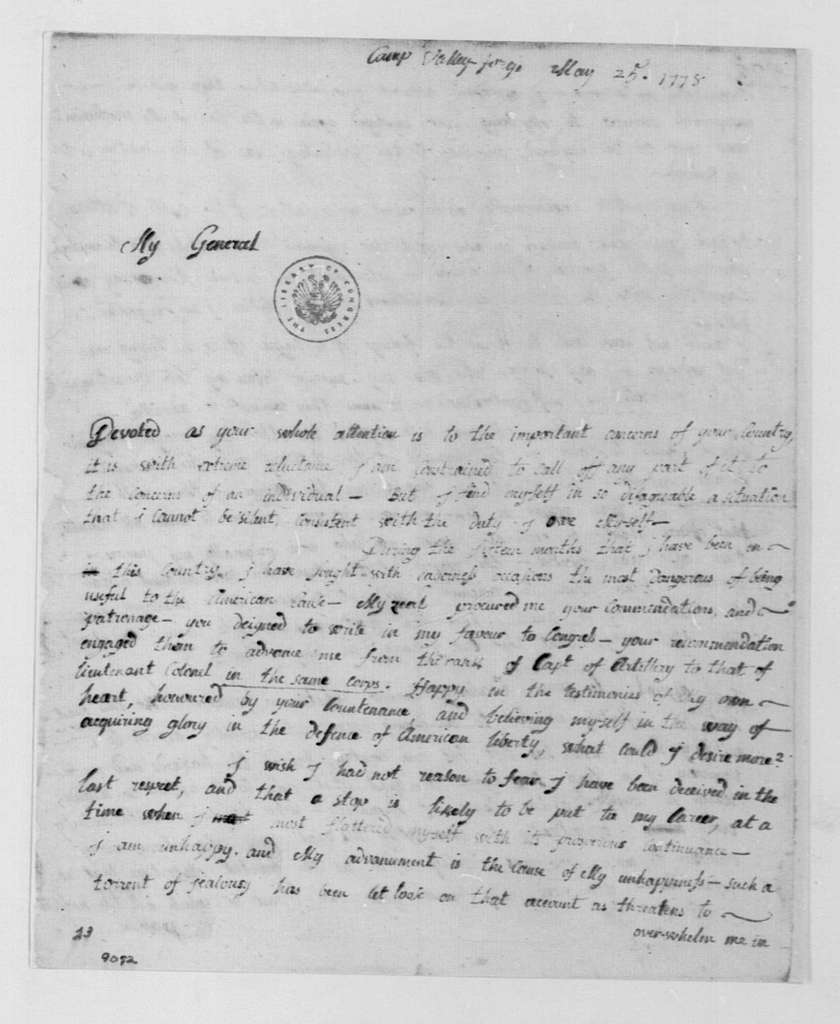 George Washington Papers, Series 4, General Correspondence: Thomas Antoine, Chevalier de Mauduit du Plessis to George Washington, May 25, 1778