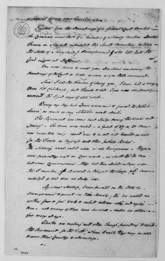 George Washington Papers, Series 4, General Correspondence: Thomas Hartley to George Washington, May 23, 1778