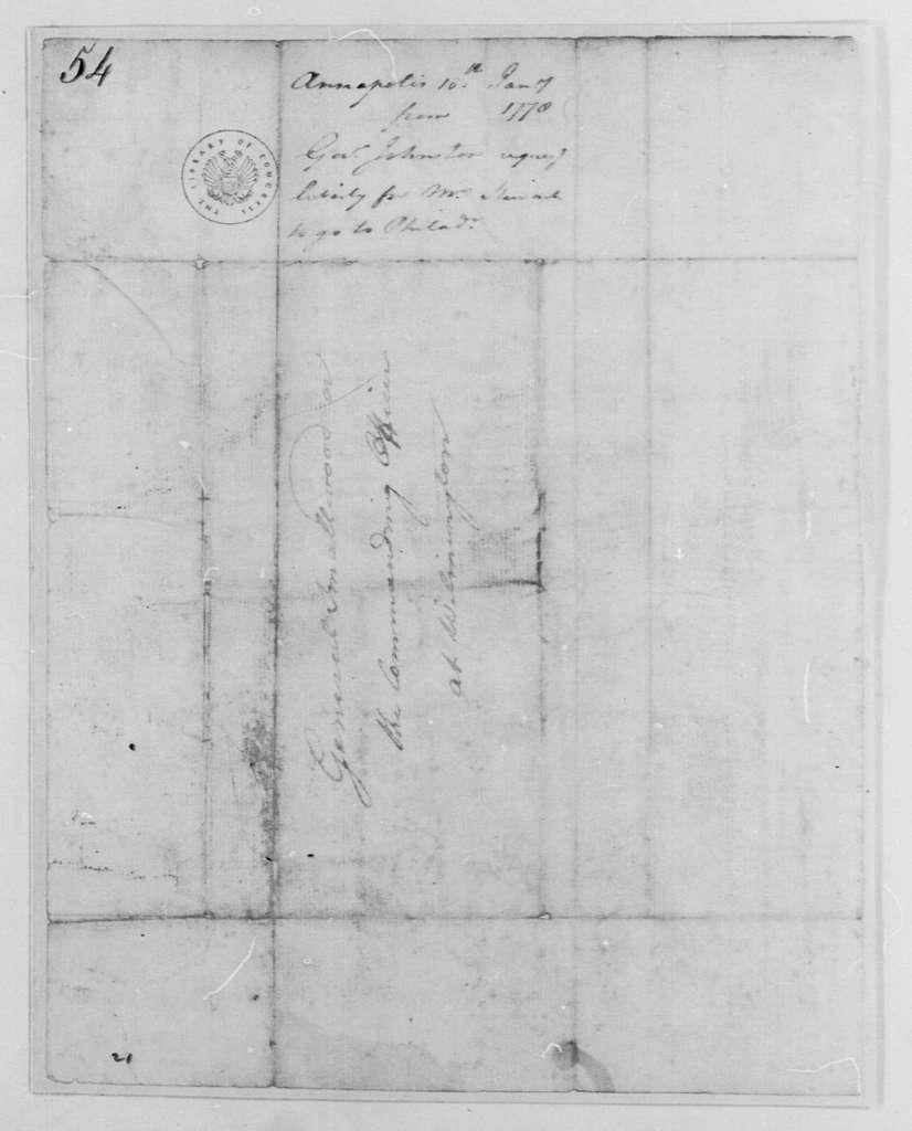 George Washington Papers, Series 4, General Correspondence: Thomas Johnson to William Smallwood, January 10, 1778
