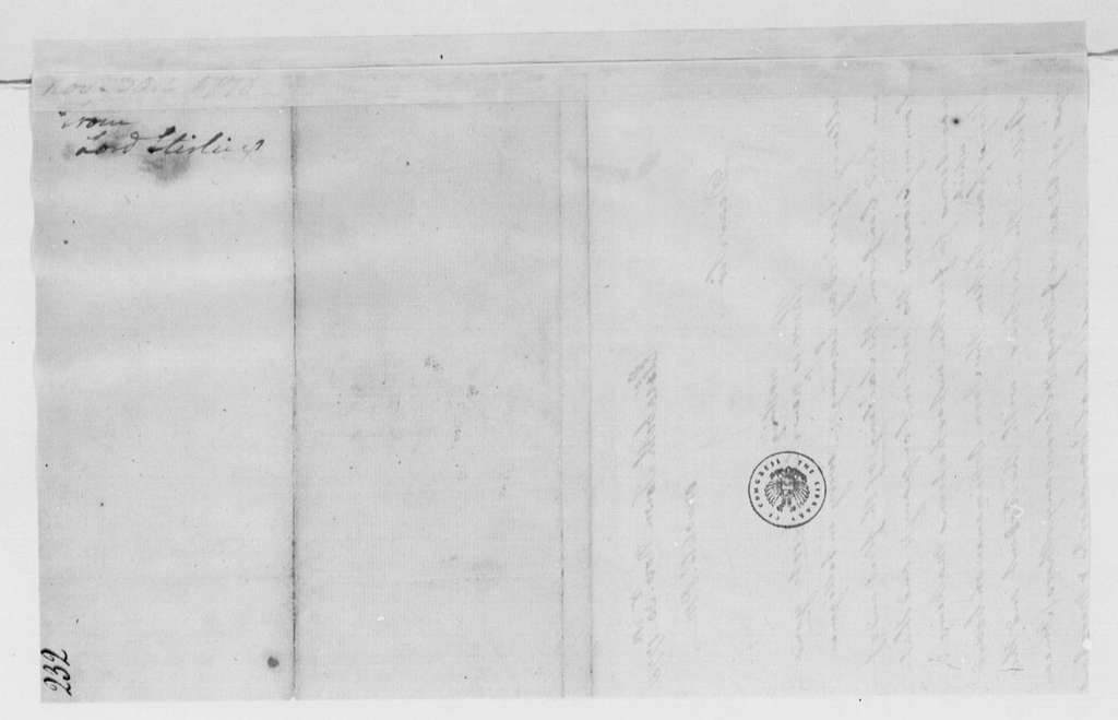 George Washington Papers, Series 4, General Correspondence: William Alexander, Lord Stirling to George Washington, November 30, 1778
