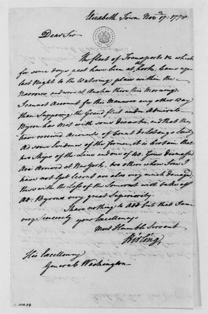 George Washington Papers, Series 4, General Correspondence: William Alexander, Lord Stirling to George Washington, November 17, 1778