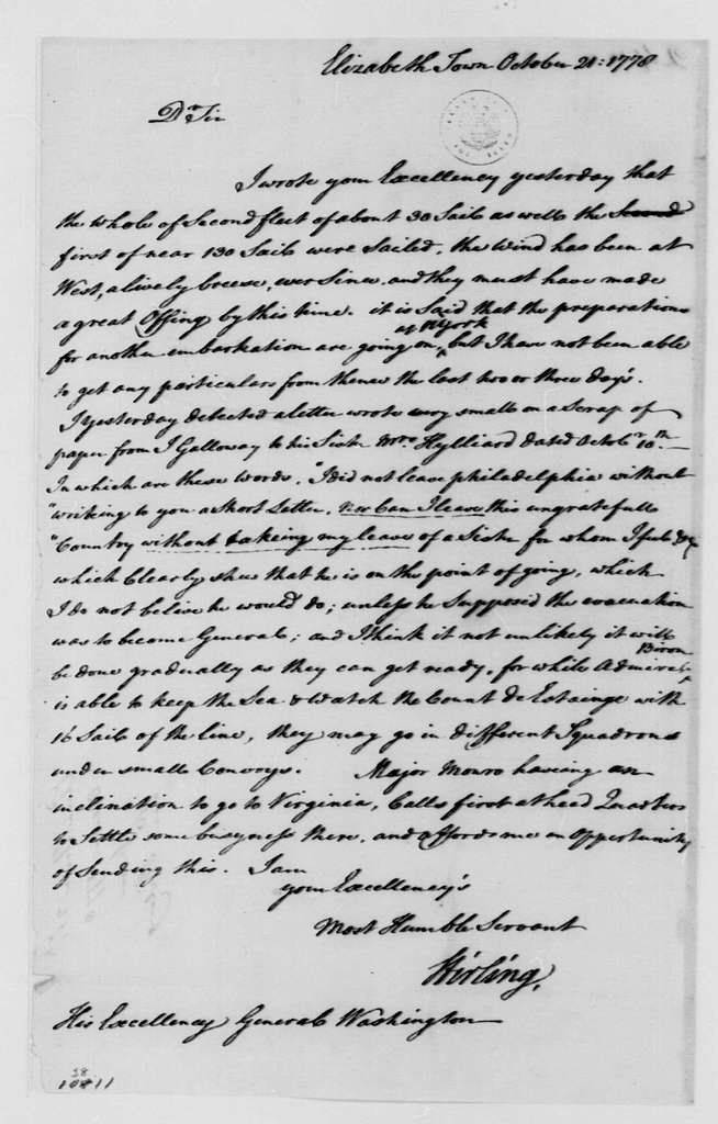 George Washington Papers, Series 4, General Correspondence: William Alexander, Lord Stirling to George Washington, October 21, 1778