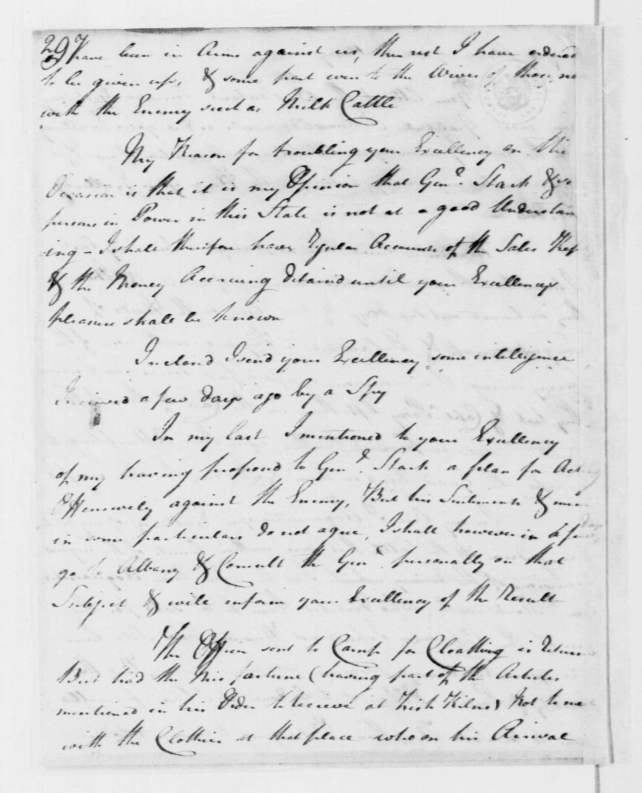 George Washington Papers, Series 4, General Correspondence: William Butler to George Washington, August 31, 1778