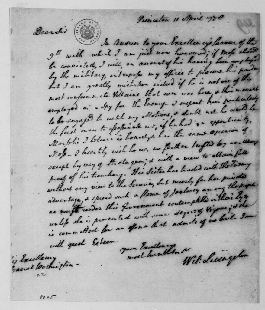 George Washington Papers, Series 4, General Correspondence: William Livingston to George Washington, April 11, 1778