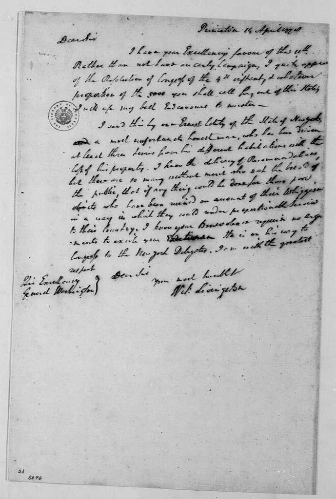 George Washington Papers, Series 4, General Correspondence: William Livingston to George Washington, April 14, 1778