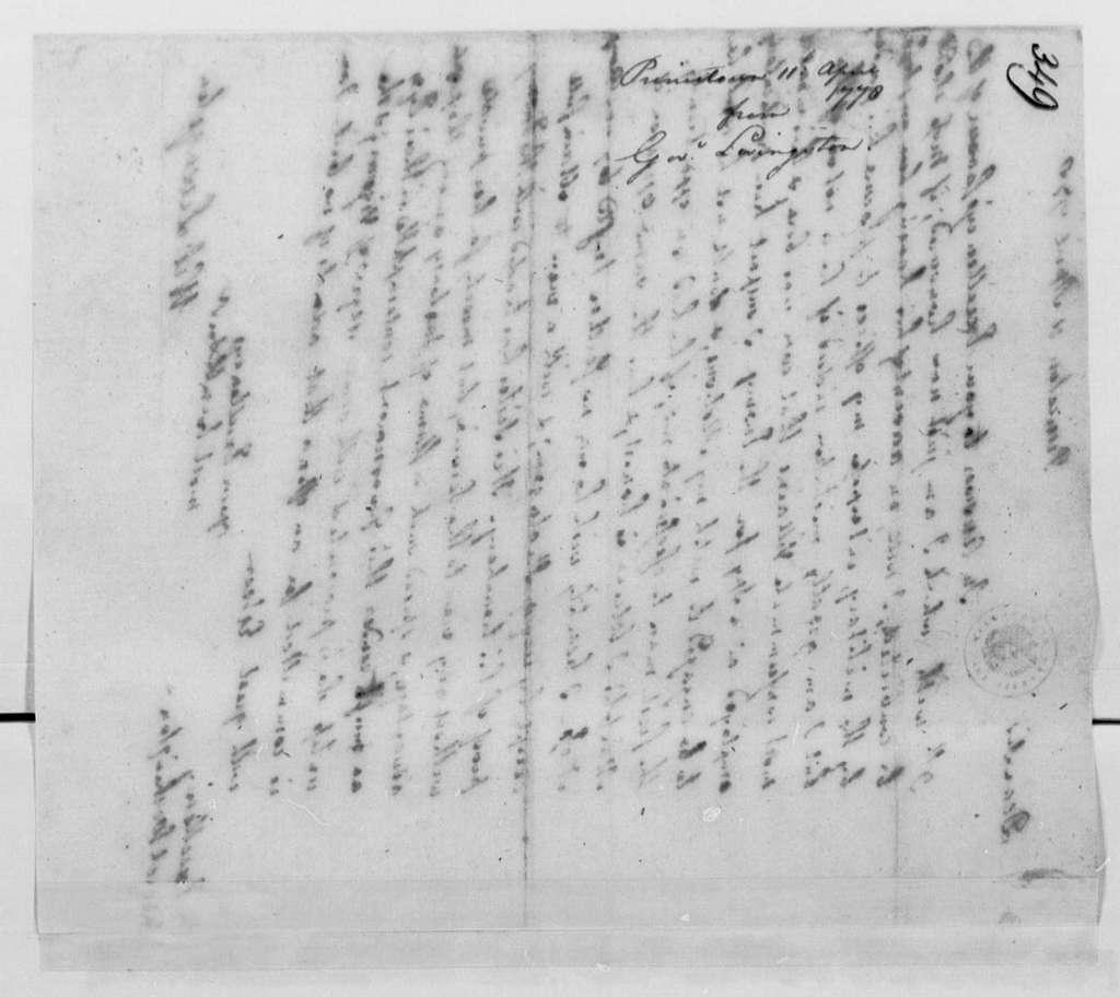 George Washington Papers, Series 4, General Correspondence: William Livingston to George Washington, April 11, 1778