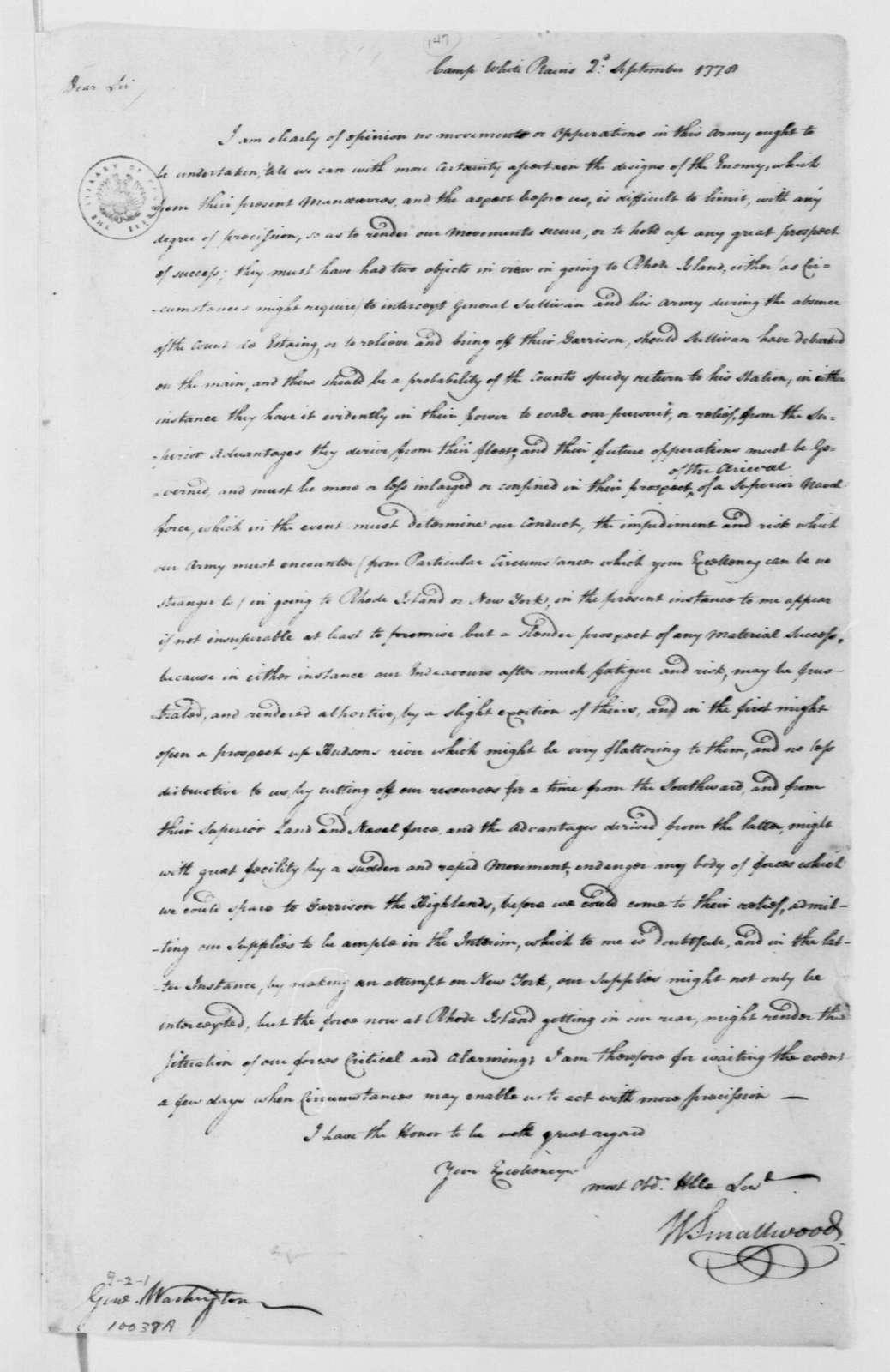 George Washington Papers, Series 4, General Correspondence: William Smallwood to George Washington, September 2, 1778