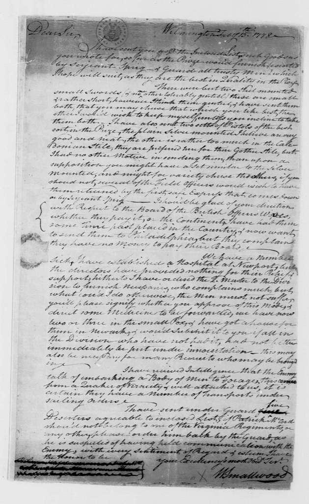 George Washington Papers, Series 4, General Correspondence: William Smallwood to George Washington, February 15, 1778