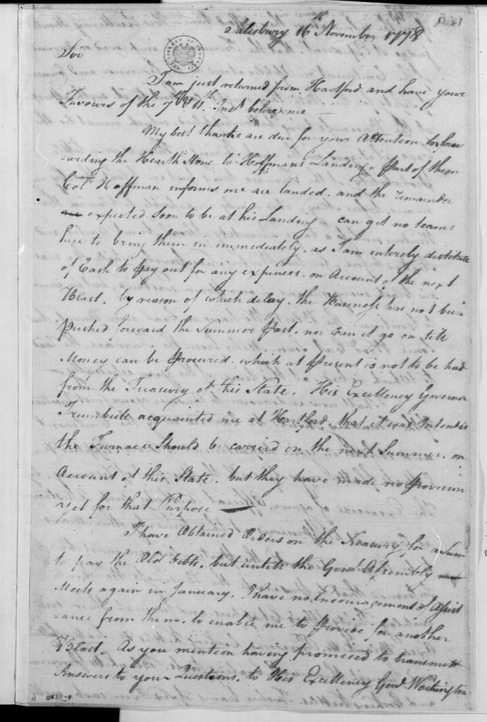George Washington Papers, Series 4, General Correspondence: William Whiting to Udny Hay, November 16, 1778