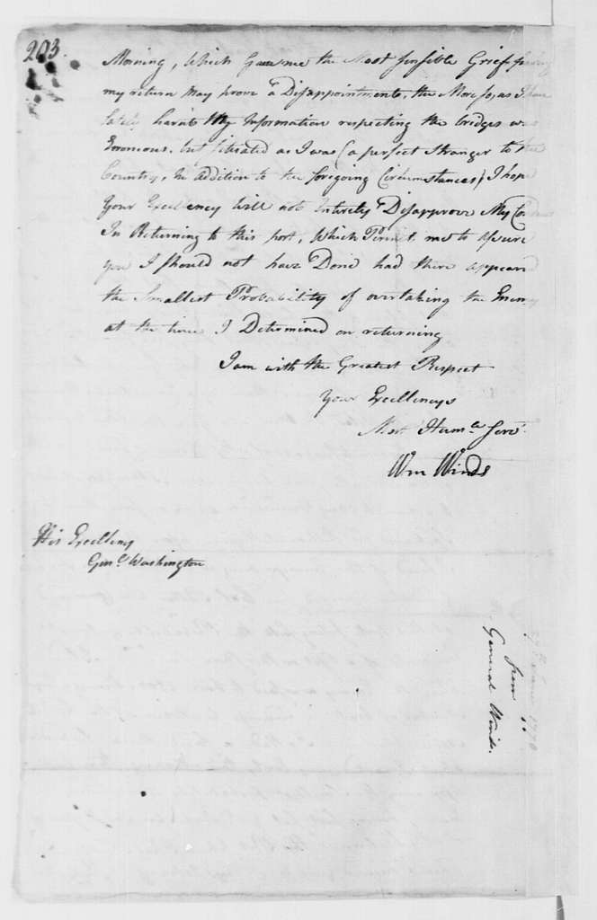 George Washington Papers, Series 4, General Correspondence: William Winds to George Washington, June 27, 1778
