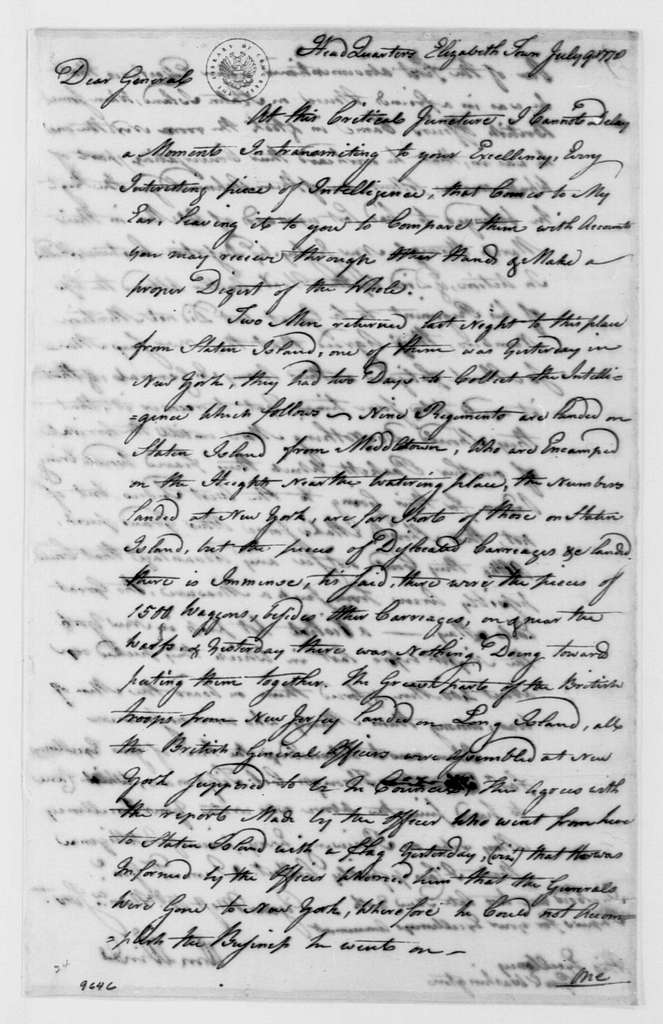 George Washington Papers, Series 4, General Correspondence: William Winds to George Washington, July 9, 1778