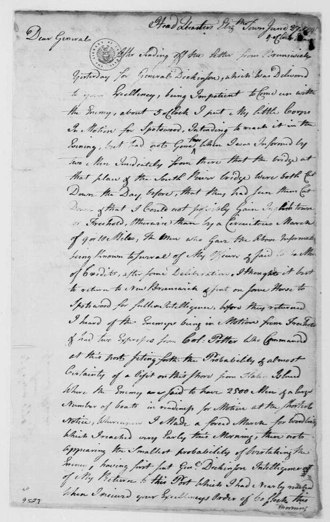 George Washington Papers, Series 4, General Correspondence: William Winds to George Washington, June 27, 1778