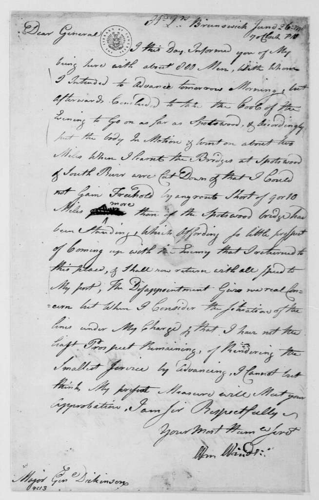 George Washington Papers, Series 4, General Correspondence: William Winds to Philemon Dickinson, June 26, 1778