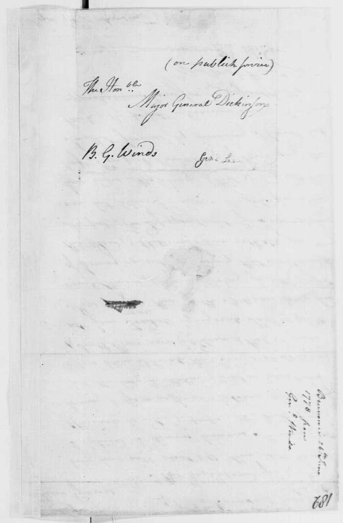 George Washington Papers, Series 4, General Correspondence: William Winds to Philemon Dickinson, June 26, 1778