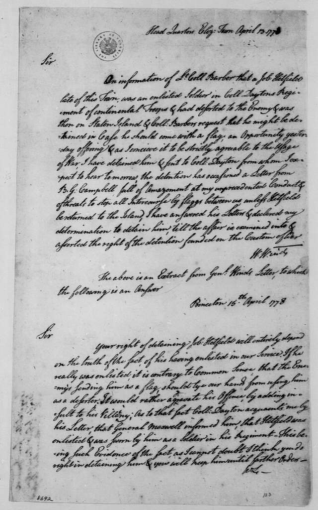 George Washington Papers, Series 4, General Correspondence: William Winds to William Livingston, April 13, 1778, with Reply