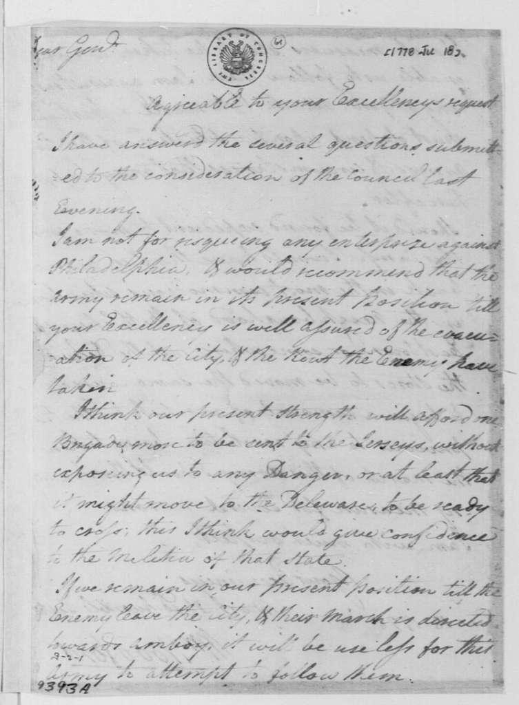 George Washington Papers, Series 4, General Correspondence: William Woodford to George Washington, June 18, 1778