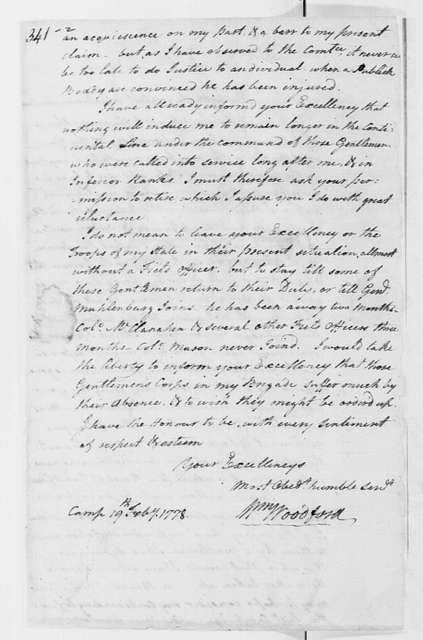 George Washington Papers, Series 4, General Correspondence: William Woodford to George Washington, February 19, 1778