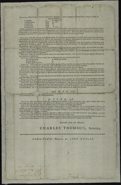In Congress, 27th May, 1778 : Establishment of the American Army. I. Infantry. Resolved, that each battalion of infantry shall consist of nine companies ... II. Artillery ... III. Cavalry ... IIII. Provost ...