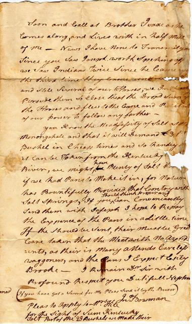 Letter by John Bowman