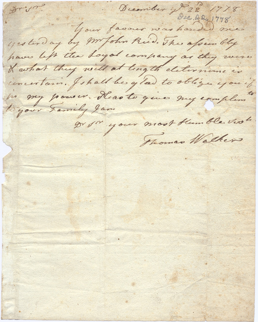 Letter from Thomas Walker to a unknown correspondent
