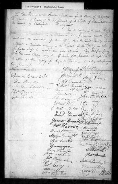 November 3, 1778, Chesterfield, Manchester Parish, for dissolution of vestry.