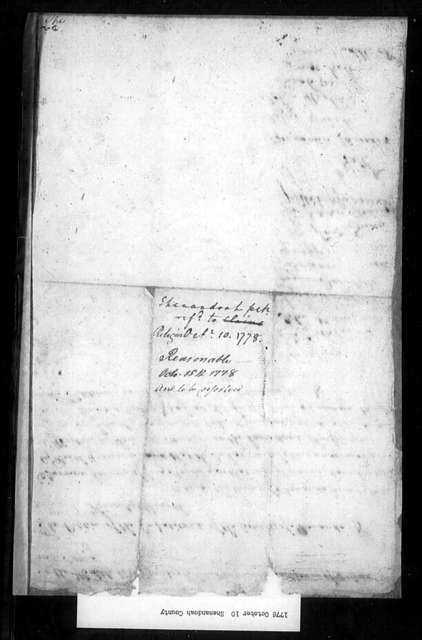 October 10, 1778, Shenandoah, Beckford Parish, for dissolution of vestry.