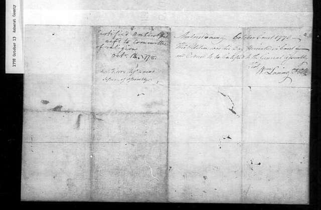 October 13, 1778, Amherst, Amherst Parish, for general assessment.