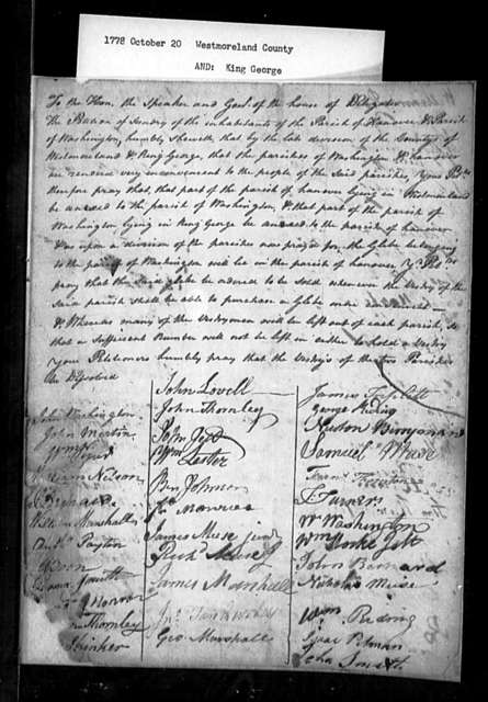 October 20, 1778, Westmoreland, King George, Hanover and Washington Parishes, for dissolution of vestries, sale of glebe, and purchase of more convenient glebe.