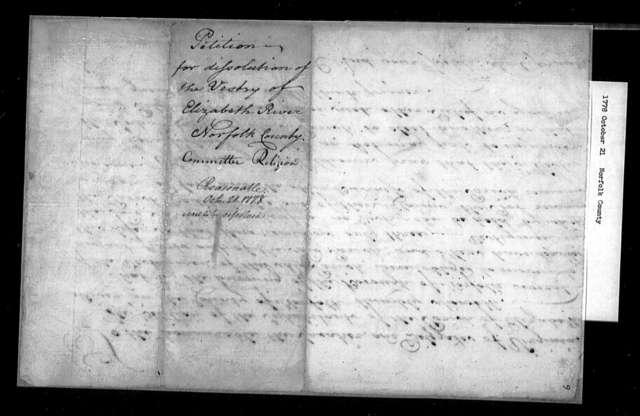 October 21, 1778, Norfolk, Portsmouth Parish, for dissolution of vestry.