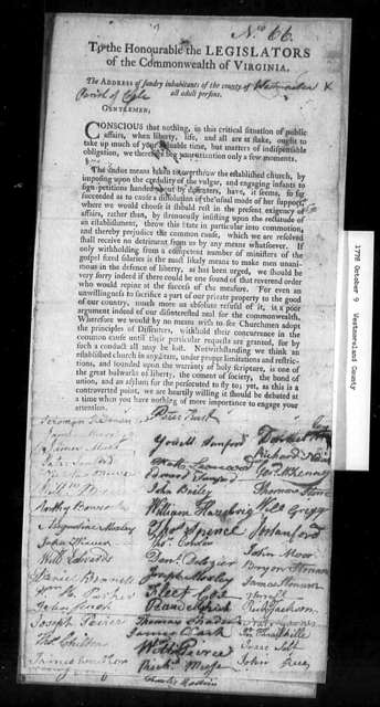 October 9, 1778, Westmoreland, Cople Parish, against disestablishment.