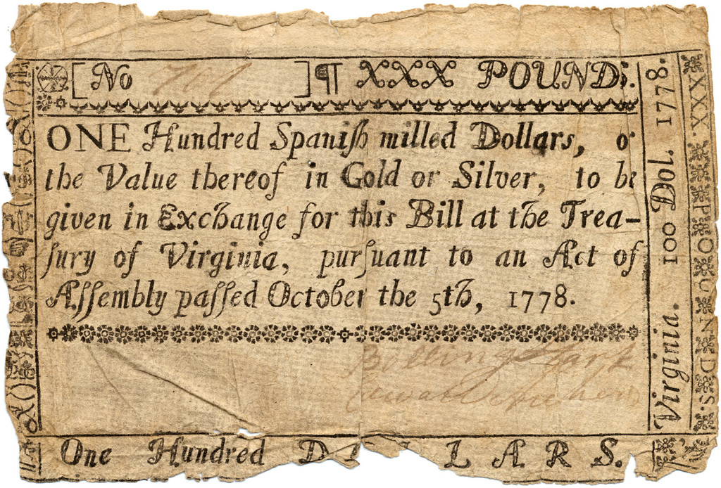 One hundred Spanish milled dollars, or the value thereof in gold or silver, to be given in exchange for this bill at the treasury of Virginia, pursuant to an act of assembly passed October the 5th, 1778.
