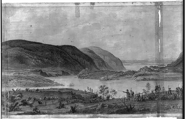 [Panoramic view of West Point, New York showing American encampments on the Hudson River]
