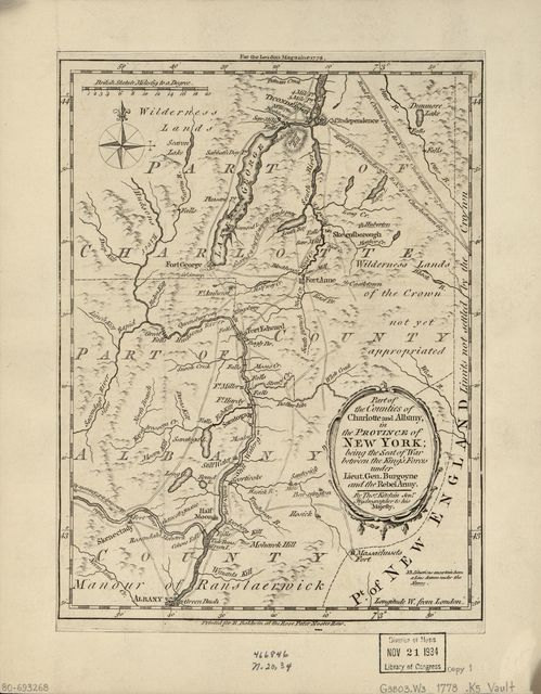 Part of the counties of Charlotte and Albany, in the Province of New York : being the seat of war between the King's forces under Lieut. Gen. Burgoyne and the rebel army /