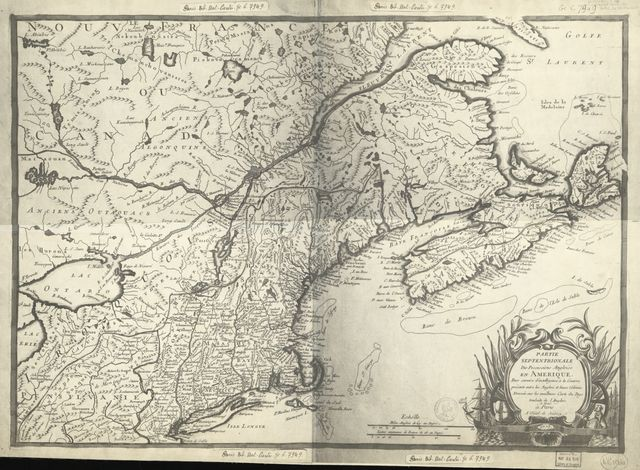 Partie septentrionale des possessions angloise en Amérique : pour servire d'intelligence à la guerre présente entre les Anglois et leurs colonies dresséesur les meilleurs carte du pays /