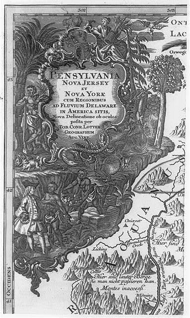 Pensylvania Nova Jersey et Nova York cum regionibus ad fluvium Delaware in America sitis, ... / Tob. Conr. Lotter, sculps Aug. V.