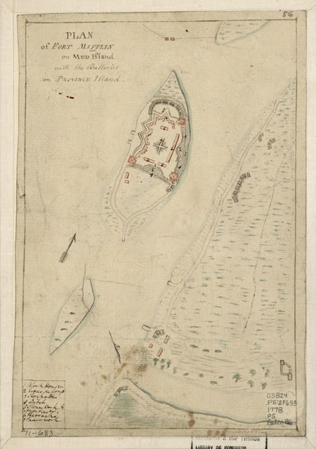 Plan of Fort Mifflin on Mud Island, with the batteries on Province Island.