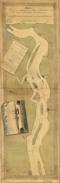 Plan of part of the River Delaware from Chester to Philadelphia, in which is mark'd the position of His Majs. ships on the 15th. of November 1777. The obstructions to the navigation of the river, laid down by the rebels, are also mark'd.