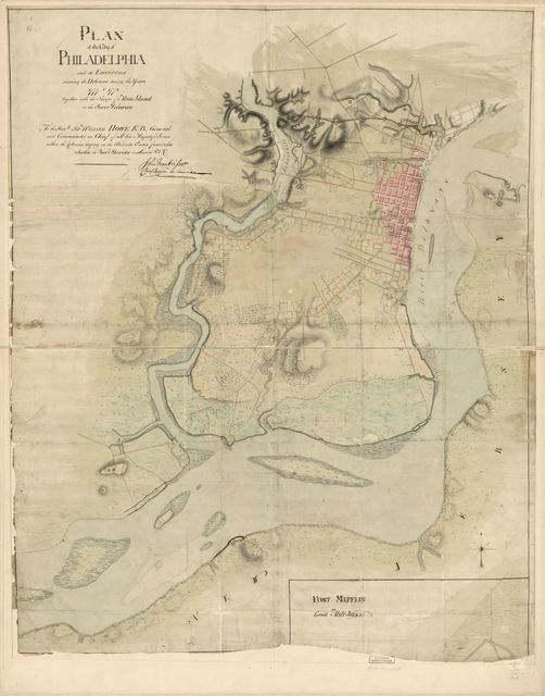 Plan of the city of Philadelphia and its environs shewing its defences during the years 1777 & 1778, together with the siege of Mud Island on the River Delaware.
